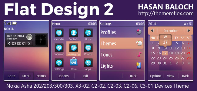 Flat Design 2 Live THeme for Nokia Asha 202/203/300/303, X3-02, C2-02, C2-03, C2-06, C3-01 and Touch & Type Devices