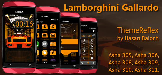 Lamborghini Gallardo Theme for Nokia Asha 305, Asha 306, Asha 308, Asha 309, Asha 310, Asha 311 Full Touch Devices.