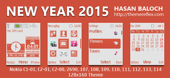 Happy New Year 2015 Live Theme for Nokia C1-01, C1-02, C2-00, 107, 108, 109, 110, 111, 112, 113, 114, 2690 & 128×160 Devices