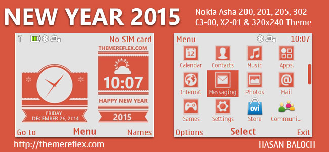 Happy New Year 2015 Live Theme for Nokia C3-00, X2-01, Asha 200, 201, 205, 210, 302 & 320×240 Devices