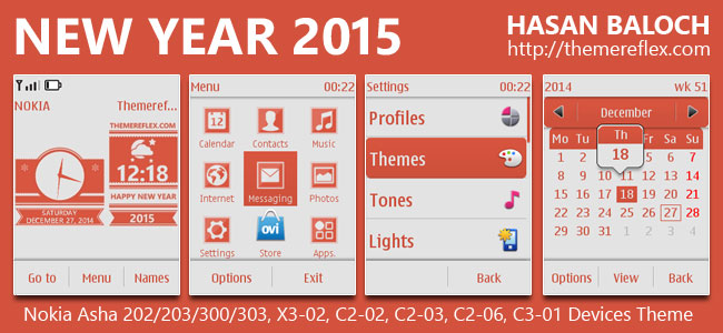 Happy New Year 2015 Theme for Nokia Asha 202/ 203/ 300/ 303, X3-02, C2-02, C2-03, C2-06, C3-01 and Touch & Type Devices