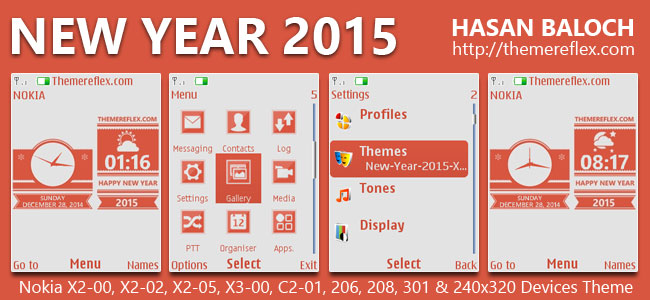 Happy New Year 2015 Live Theme for Nokia X2-00, X2-02, X2-05, X3-00, C2-01, 2700, 206, 301 & 240×320 Devices