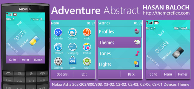 Adventure Abstract Live Theme for Nokia Asha 202/ 203/ 300/ 303/ X3-02, C2-02, C2-03, C2-06, C3-01 and Touch & Type Devices