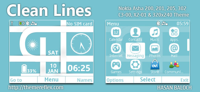 Clean Lines Live Theme for Nokia C3-00, X2-01, Asha 200, 201, 205, 210, 302 & 320×240 Devices