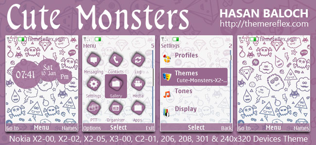Cute Monsters Theme for Nokia X2-00, X2-02, X2-05, X3-00, C2-01, 206, 208, 301, 2700 & 240×320 Devices