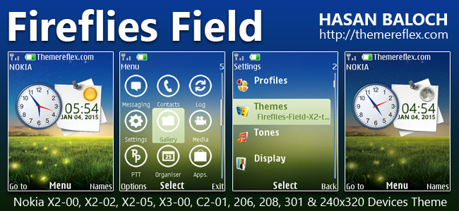 Fireflies Field Live Theme for Nokia X2-00, X2-02, X2-05, X3-00, C2-01, 2700, 206, 208, 301 & 240×320 Devices