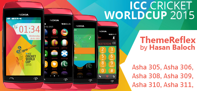 ICC Cricket World Cup 2015 Theme for Nokia Asha 305, Asha 306, Asha 308, Asha 309, Asha 310, Asha 311 & Full Touch Devices