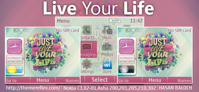 Live Your Life Theme for Nokia C3-00, X2-01, Asha 200, 201, 205, 210, 302 & 320×240 Devices