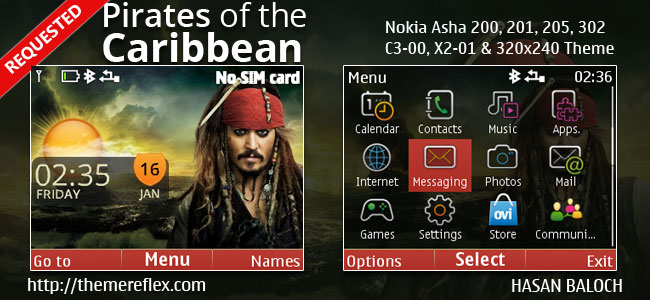 Pirates of the Caribbean Live Theme for Nokia C3-00, X2-01, Asha 200, 201, 205, 210, 302 & 320×240 Devices