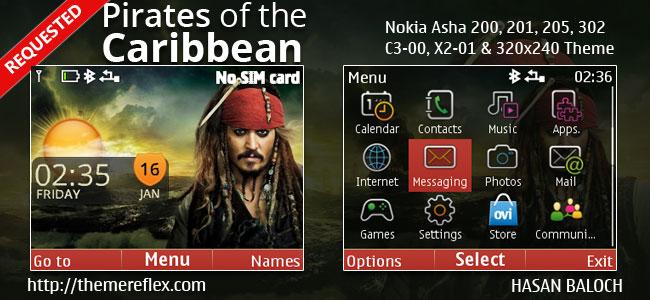 Pirates of the Caribbean Live Theme for Nokia C3-00, X2-01, Asha 200, 201, 205, 210, 302 & 320×240 Devices