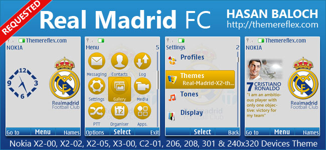 Real Madrid FC Theme for Nokia X2-00, X2-02, X2-05, X3-00, C2-01, 206, 208, 301, 2700 & 240×320 Devices