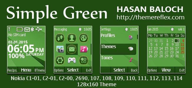 Simple Green Theme for Nokia C1-01, C1-02, C2-00, 107, 108, 109, 110, 111, 112, 113, 2690 & 128×160 Devices