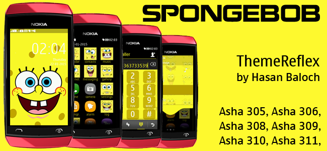 SpongeBob Theme for Nokia Asha 305, Asha 306, Asha 308, Asha 309, Asha 310, Asha 311 & Full Touch Devices