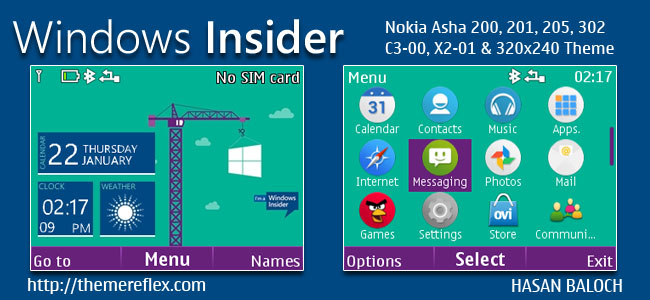 Windows Insider Live Theme for Nokia C3-00, X2-01, Asha 200, 201, 205, 210, 302 & 320×240 Devices