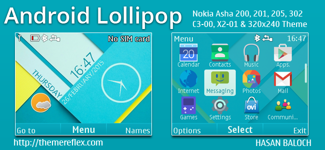 Android Lollipop Live Theme for Nokia C3-00, X2-01, Asha 200, 201, 205, 210, 302 & 320×240 Devices