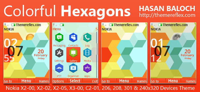 Colorful Hexagons Live Theme for Nokia X2-00, X2-02, X2-05, X3-00, C2-01, 206, 208, 301, 2700 & 240×320 Devices