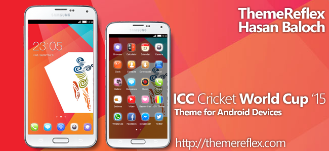 ICC Cricket World Cup 2015 Theme for Nokia X, Nokia XL, Samsung, Samsung Galaxy, Samsung Star, Google, Google Nexus, Sony Xperia, Q-Mobile, HTC, Huawei, LG G2, LG & Other Android Devices
