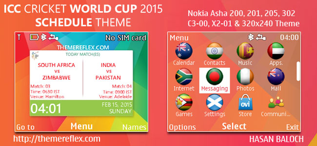 ICC Cricket World Cup 2015 Schedule Theme for Nokia C3-00, X2-01, Asha 200, 201, 205, 210, 302 & 320×240 Devices