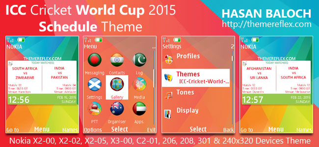 ICC Cricket World Cup 2015 Schedule Theme for Nokia X2-00, X2-02, X2-05, X3-00, C2-01, 206, 208, 301, 2700 & 240×320 Devices