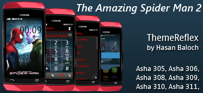 The Amazing Spider Man 2 Theme for Nokia Asha 305, Asha 306, Asha 308, Asha 310, Asha 311 & Full Touch Devices