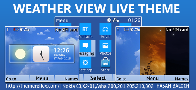 Weather View Live Theme for Nokia C3-00, X2-01, Asha 200, 201, 205, 210, 302 & 320×240 Devices