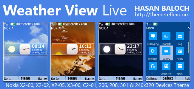 Weather View Live Theme for Nokia X2-00, X2-02, X2-05, X3-00, C2-01, 2700, 206, 208, 301 & 240×320 Devices [Updated]