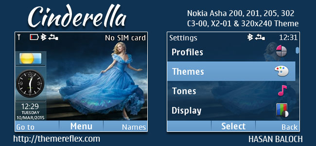 Cinderella Live Theme for Nokia C3-00, X2-01, Asha 200, 201, 205, 210, 302 & 320×240 Devices