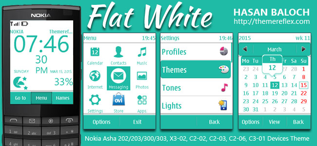 Flat White Live Theme for Nokia Asha 202, 203, 300, 303, X3-02, C2-02, C2-03, C2-06, C3-01 and Touch & Type Devices
