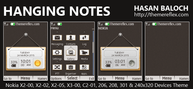 Hanging Notes Live Theme for Nokia X2-00, X2-02, X2-05, X3-00, C2-01, 206, 208, 301, 2700, 6303i & 240×320 Devices