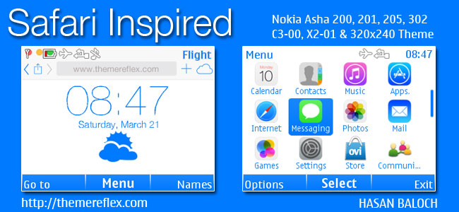 Safari Inspired Live Theme for Nokia C3-00, X2-01, Asha 200, 201, 205, 210, 302 & 320×240 Devices