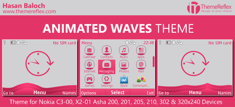 Animated Waves Theme for Nokia C3-00, X2-01, Asha 200, 201, 205, 210, 302 & 320×240 Devices