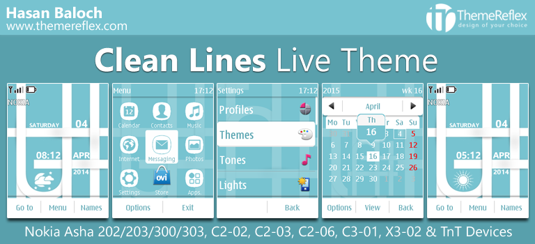 Clean Lines Live Theme for Nokia Asha 202, 203, 300, 303, C2-02, C2-03, C2-06, C3-01, X3-02 & Touch & Type Devices
