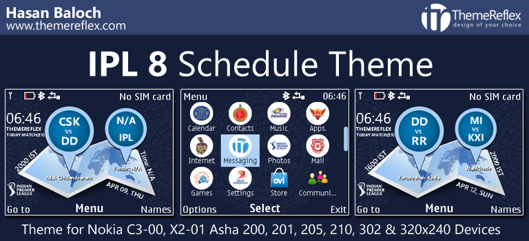 IPL 8 Schedule Themes