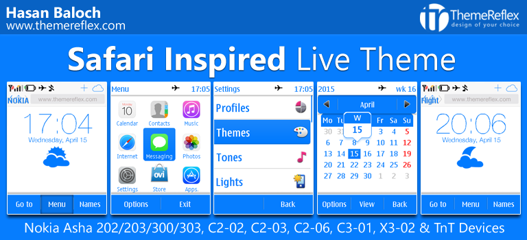 Safari Inspired Live Theme for Nokia Asha 202/ 203/ 300/ 303, X3-02, C2-02, C2-03, C2-06, C3-01 and Touch & Type Devices