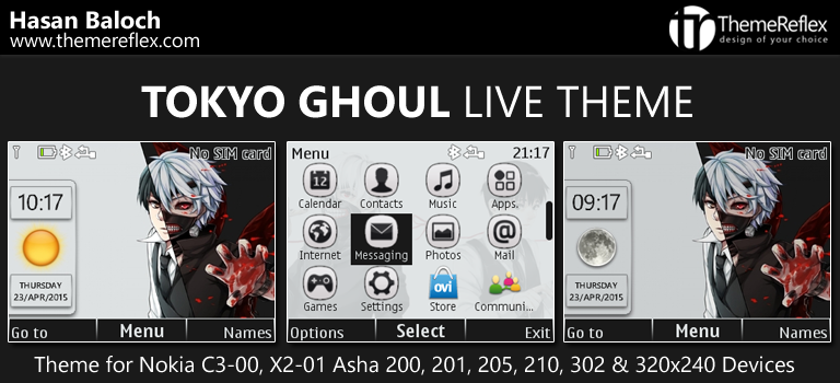 Tokyo Ghoul Live Theme for Nokia C3-00, X2-01, Asha 200, 201, 205, 210, 302 & 320×240 Devices
