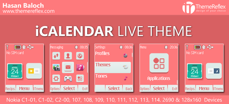 iCalendar Live Theme for Nokia C1-01, C1-02, C2-00, 107, 108, 109, 110, 111, 112, 113, 114, 2690 & 128×160 Devices