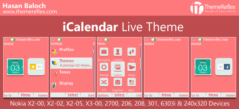 iCalendar Live Theme for Nokia X2-00, X2-02, X2-05, X3-00, C2-01, 206. 208, 301, 2700, 6303i & 240×320 Devices