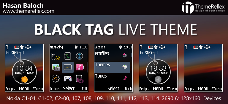 Black Tag Live Theme for Nokia C1-01, C1-02, C2-00, 107, 108, 109, 110, 111, 112, 113, 114, 2690 & 128×160 Devices [Updated]
