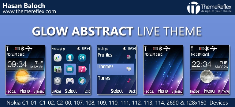 Glow Abstract Live Theme for Nokia C1-01, C1-02, C2-00, 107, 108, 109, 110, 111, 112, 113, 114, 2690 & 128×160 Devices
