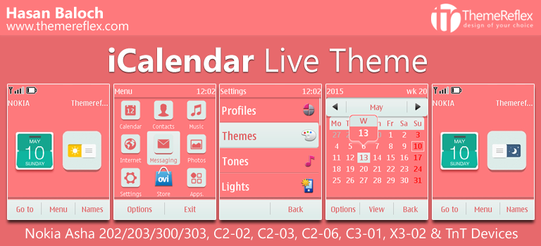 iCalendar Live Theme for Nokia Asha 202 / 203 / 300 / 303, C2-02, C2-03, C2-06, C3-01, X3-02 & Touch & Type Devices