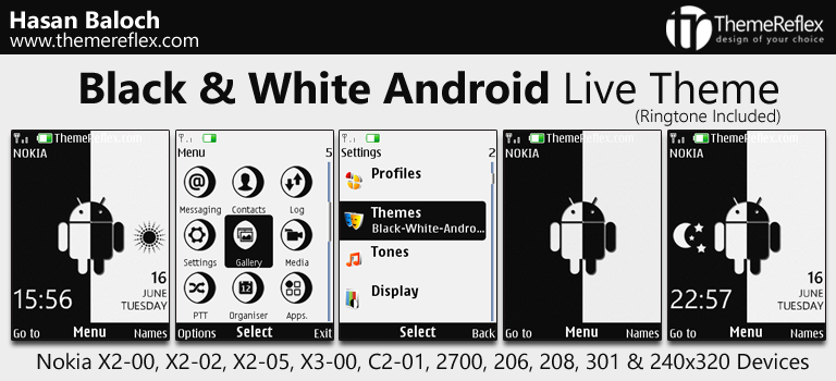 Black & White Android Live Theme for Nokia X2-00, X2-02, X3-00, C2-01, 2700, 206, 208, 301, 6303i & 240×320 Devices