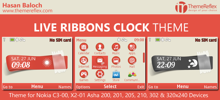 Live Ribbons Clock Theme for Nokia C3-00, X2-01, Asha 200, 201, 205, 210, 302 & 320×240 Devices