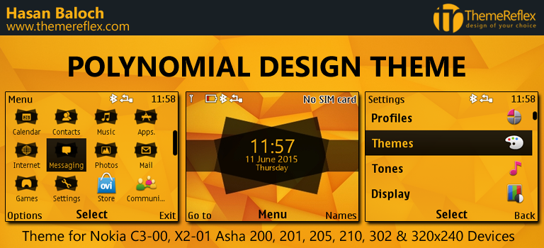 Polynomial Design Theme for Nokia C3-00, X2-01, Asha 200, 201, 205, 210, 302 & 320×240 Devices