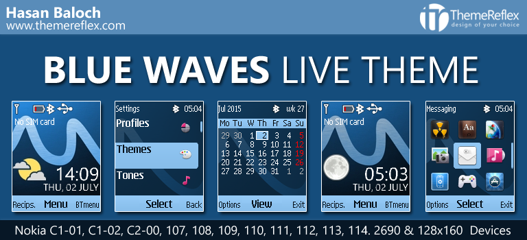 Blue Waves Live Theme for Nokia C1-01, C1-02, C2-00, 107, 108, 109, 110, 111, 112, 113, 114 & 128×160 Devices