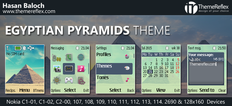 Egyptian Pyramids Theme for Nokia C1-01, C1-02, C2-00, 107, 108, 109, 110, 111, 112, 113, 114, 2690 & 128×160 Devices