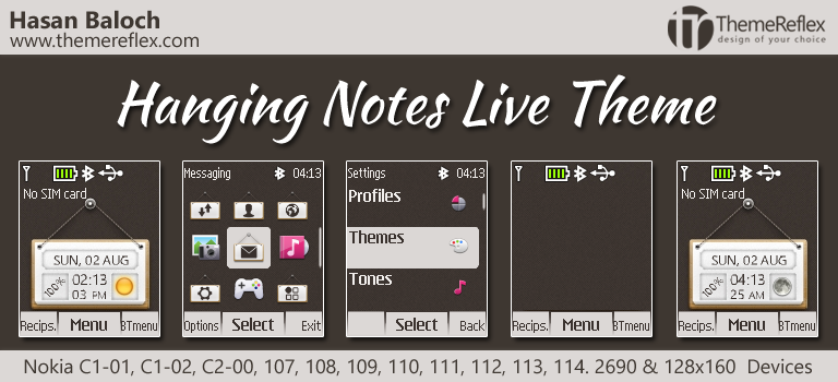 Hanging Notes Live Theme for Nokia C1-01, C1-02, C2-00, 107, 108, 109, 110, 111, 112, 113, 114, 2690 & 128×160 Devices