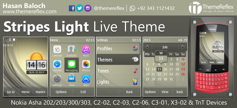 Stripes Light Live Theme for Nokia Asha 202, Asha 203, Asha 300, Asha 303, X3-02, C2-02, C2-03, C2-06, C3-01 and Touch & Type Devices