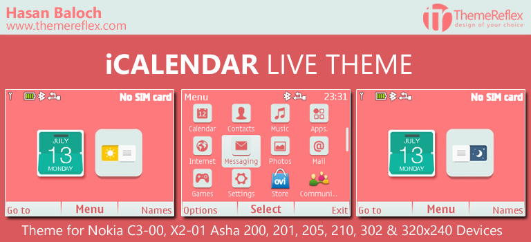 iCalendar Live Theme for Nokia C3-00, X2-01, Asha 200, 201, 205, 210, 302 & 320×240 Devices