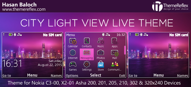 City Light View Theme for Nokia C3, X2-01, Asha 200, 201, 205, 210, 302 & 320×240 Devices