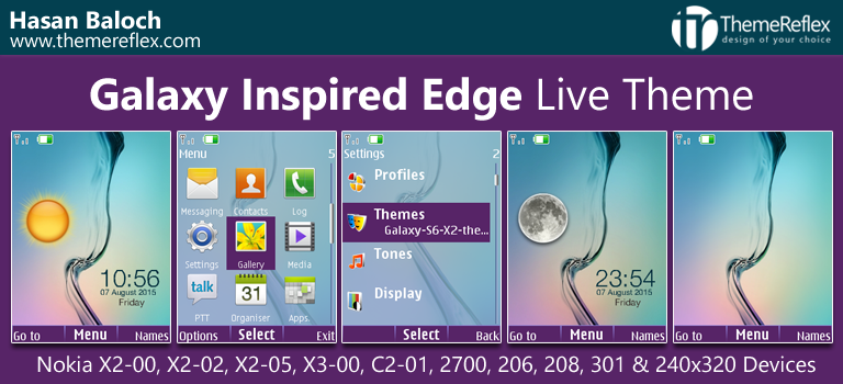 Galaxy Inspired Edge Live Theme for Nokia X2-00, X2-02, X2-05, X3-00, C2-01, 206, 208, 301, 2700 & 240×320 Devices